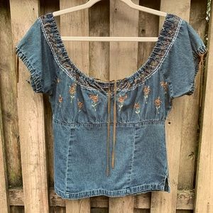Denim Peasant top with Emroidered detailing